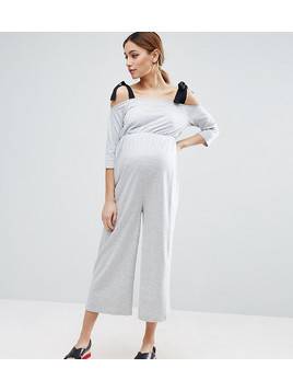 ASOS Maternity Jersey Jumpsuit with Grossgrain Tie - Grey