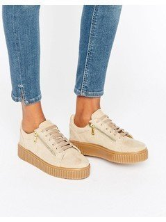 River Island Zip Side Flatform Trainers - Beige