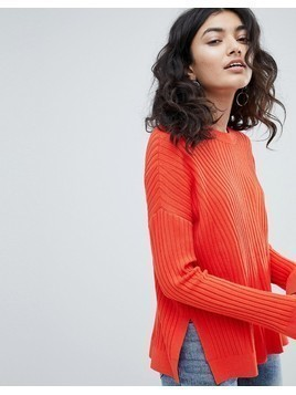 Weekday Ribbed Knit Jumper - Red