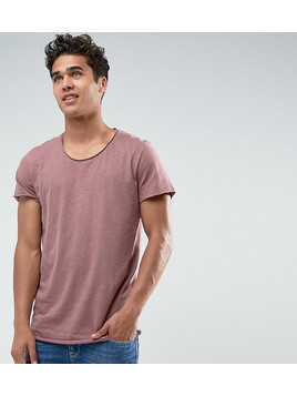 Jack&Jones Originals Long Line T-Shirt With Scoop Neck And Raw Hem - Red