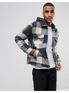 Brixton Casburn Flannel Jacket With Removable Hood - Grey