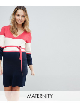 Mamalicious Colour Block Knitted Dress - Multi