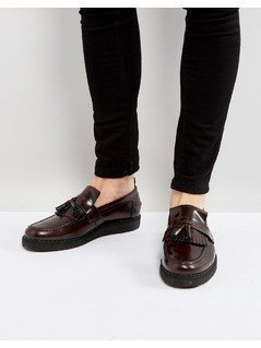 Fred Perry X George Cox Leather Tassel Loafers Red - Red