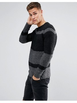 Religion Crew Neck Stripe Jumper - Black