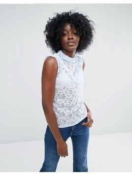 ASOS Top In Lace With Ruffle Neck In Sleeveless - Blue