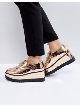Truffle Collection Flatform Lace Up Shoes - Copper