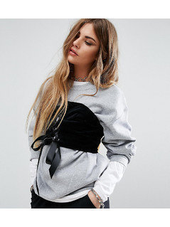 Reclaimed Vintage Oversized Sweatshirt With Corset Detail - Grey