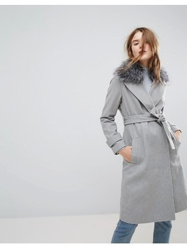 New Look Faux Fur Collar Belted Midi Coat - Grey