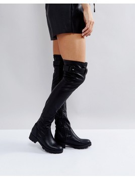 Truffle Collection Buckle Trim Stretch Over Knee Boot - Black