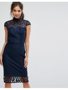 Chi Chi London Cap Sleeve Lace Pencil Dress in Cutwork Lace and High Neck - Navy
