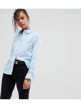 Lost Ink Petite Shirt With Frill Detail Cuffs - Blue