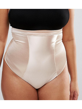 ASOS CURVE SHAPEWEAR High Shine Control Thong - Beige