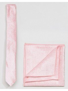ASOS Velvet Tie and Pocket Square in Pink - Pink