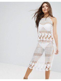 River Island Lace Midi Dress - White
