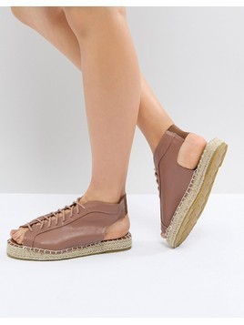 Pieces Lace Up Leather Look Espadrille - Purple