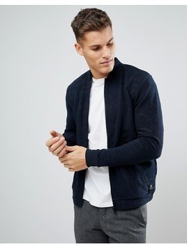 Tom Tailor Bomber Jacket With Textured Marble Design - Navy