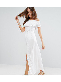 Akasa Off The Shoulder Ruffle Beach Dress - White