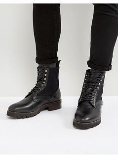 H London Elmore Leather Lace Up Boots - Black