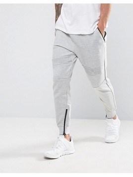 Pull&Bear Panel Joggers With Zip Hem In Light Grey - Grey