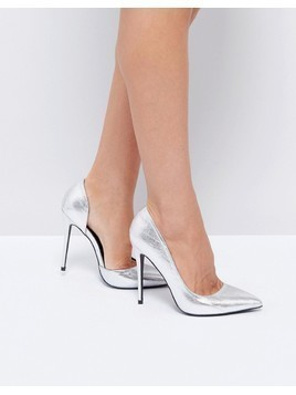 Public Desire Margi Silver Heeled Shoes - Silver