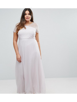 ASOS CURVE Lace Insert Panelled Maxi Dress - Grey