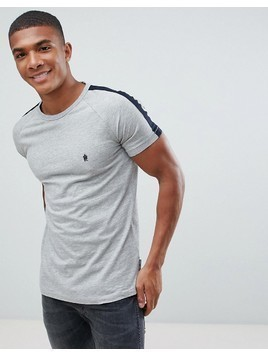 French Connection Contrast Shoulder Stripe T-Shirt - Grey