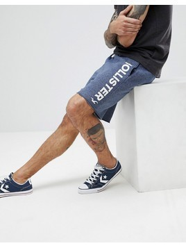 Hollister Large Logo Print Sweat Shorts in Navy Marl - Navy