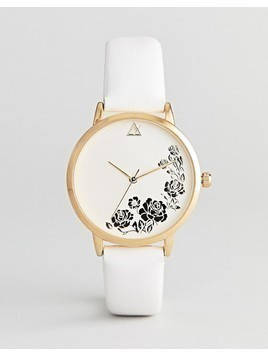 ASOS DESIGN Engraved Floral Watch - White