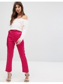 Fashion Union Cigarette Trousers In Luxe Fabric - Pink
