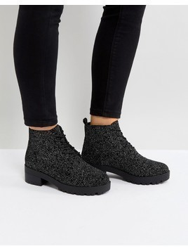Truffle Collection Lace Up Low Ankle Boot - Silver