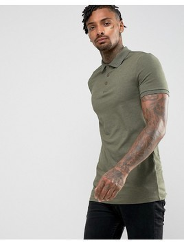 ASOS Longline Muscle Polo in Jersey - Green