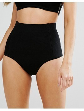 Missguided Bandage High Waist Bikini Bottom - Black