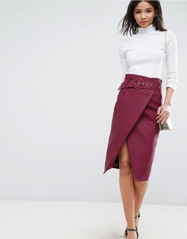 asos leather look midi pencil skirt with belt detail