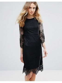 Ichi Lace Dress With Scalloped Hem - Black