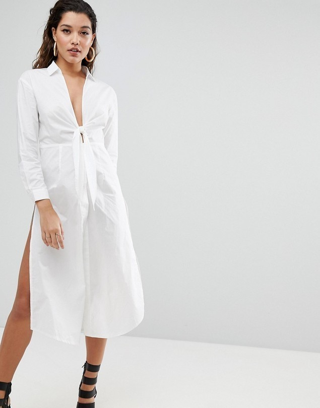 Parallel Lines Maxi Shirt With Tie Front - White