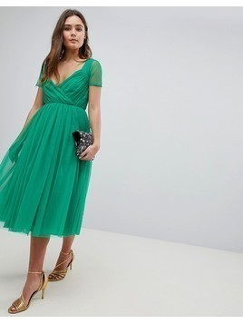ASOS Tulle Midi Dress with Sheer Sleeve - Green