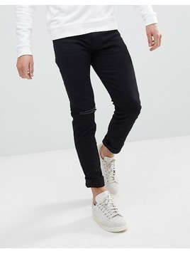 Weekday Friday Black Distressed Skinny Jeans - Black