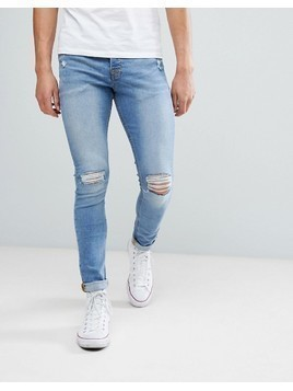 Hoxton Denim Super Skinny Jeans in Mid Blue - Blue