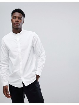 Weekday Haring Grandad Collar Twill Shirt - White
