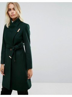 Ted Baker Long Wrap Coat with Collar - Green