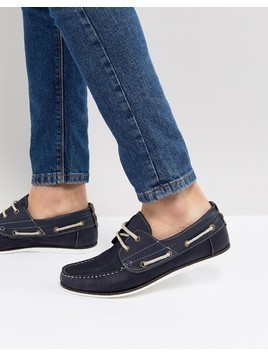 River Island Leather Boat Shoe In Navy - Navy