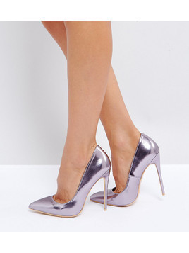 Lost Ink Wide Fit Lilac Metallic Court Shoes - Purple