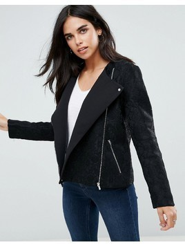 French Connection Delunay Collarless Biker Jacket - Black
