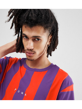 Puma Vertical Stripe T-Shirt In Red Exclusive To ASOS - Red