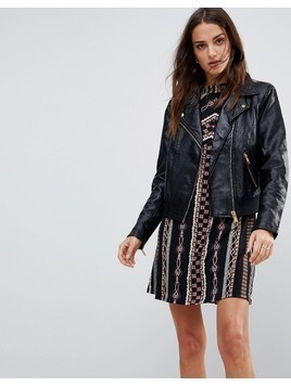Free People Modern Vegan Biker Jacket - Black