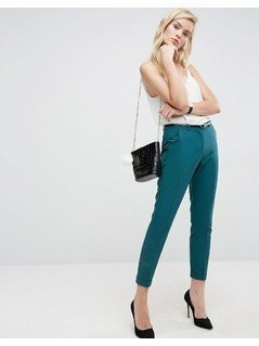 ASOS The Slim Tailored Cigarette Trousers With Belt - Green