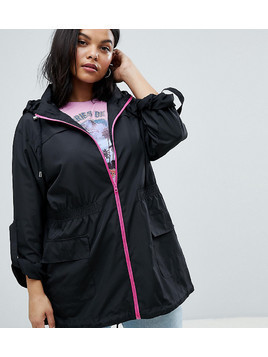 Brave Soul Plus Rave Rain Mac with Neon Zip - Pink