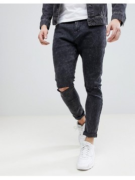Bershka Super Skinny Jeans With Ripped Knees In Black Wash - Black