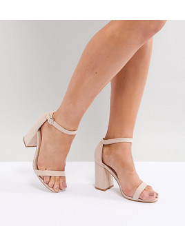 London Rebel Wide Fit Block Heeled Sandals - Beige