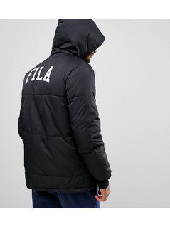 Fila Black Long Puffer Jacket With Back Logo Exclusive To ASOS - Black